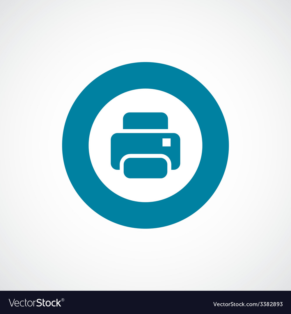 Printer bold blue border circle icon vector | Price: 1 Credit (USD $1)