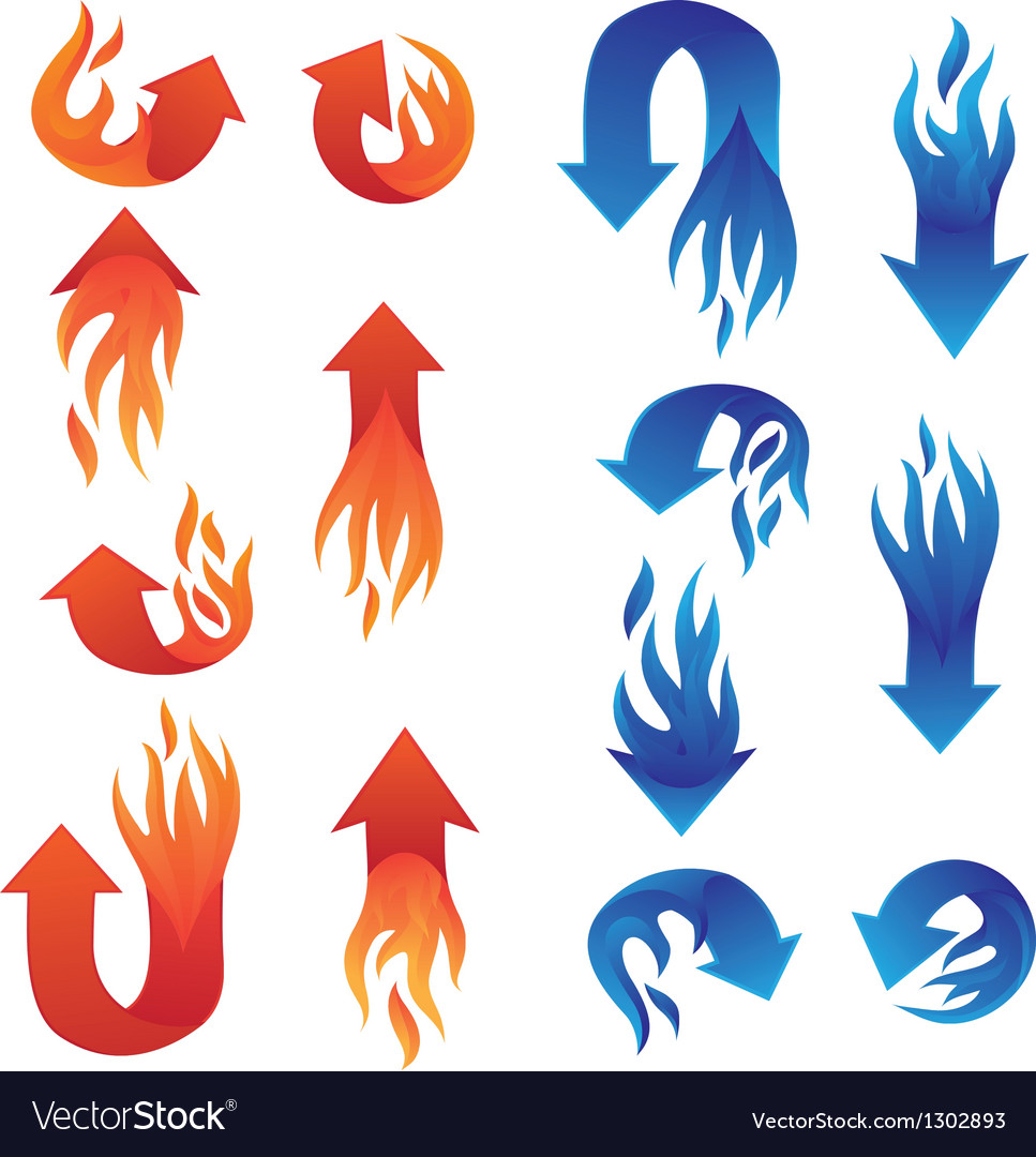 Red and blue fire arrow collections vector | Price: 1 Credit (USD $1)