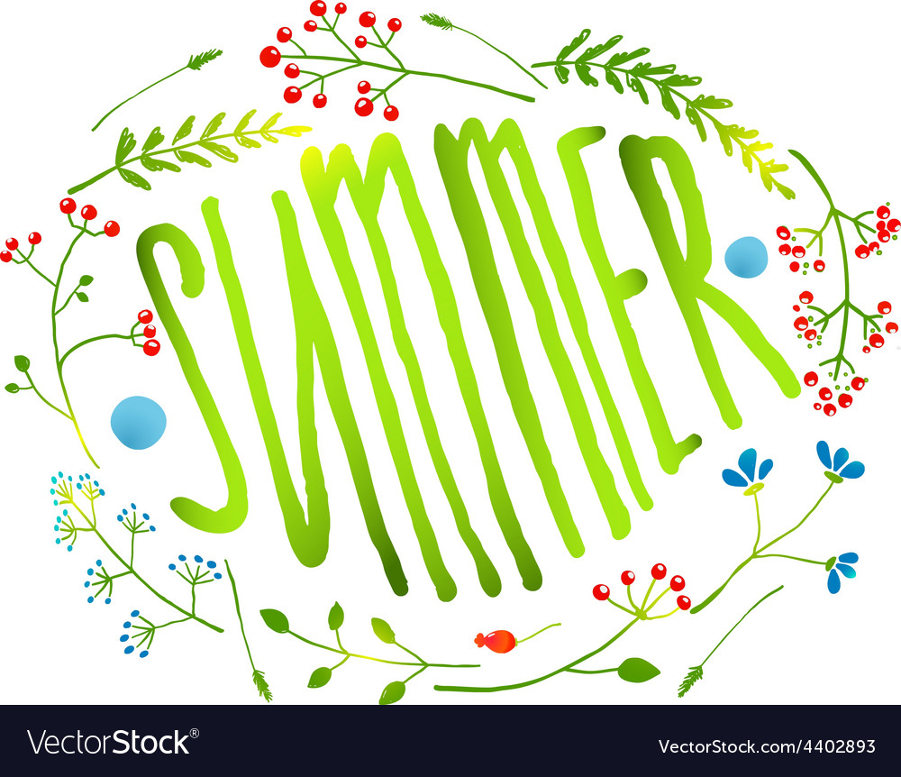 Rustic wreath with summer sign card on white vector | Price: 1 Credit (USD $1)