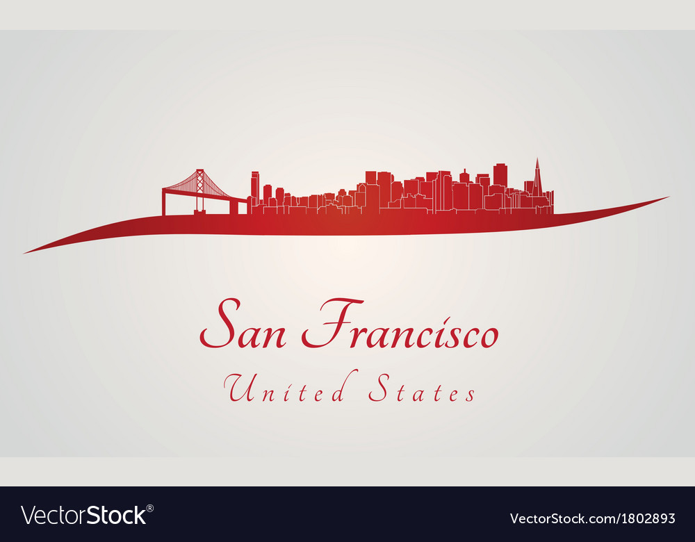 San francisco skyline in red vector | Price: 1 Credit (USD $1)
