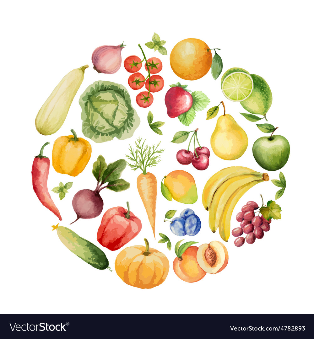 Set of watercolor vegetables and fruits vector | Price: 1 Credit (USD $1)