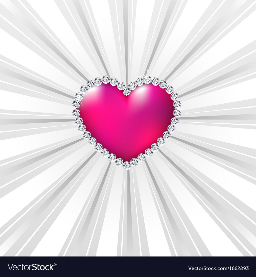 Shiny crystal love hearts on silver line vector | Price: 1 Credit (USD $1)