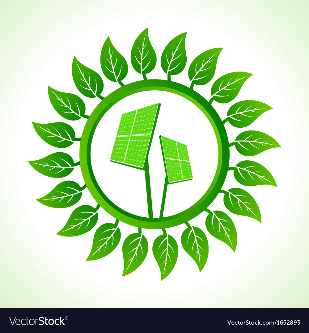Solar panel inside the leaf background vector | Price: 1 Credit (USD $1)