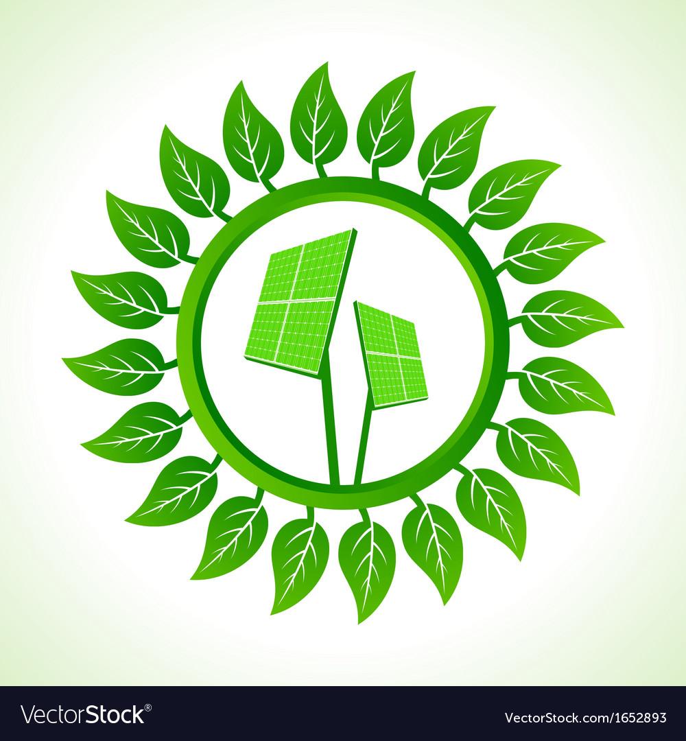 Solar panel inside the leaf background vector | Price: 1 Credit (USD $1)