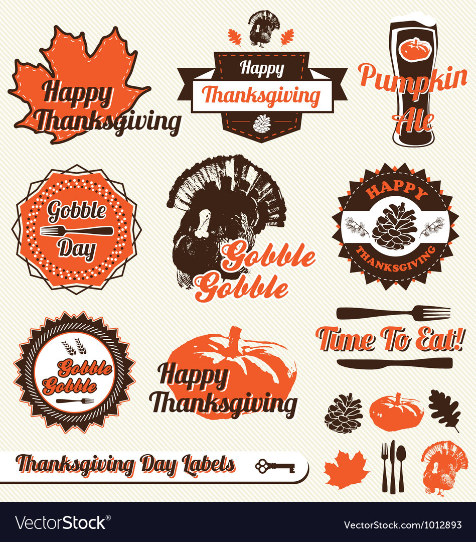Thanksgiving day labels vector | Price: 1 Credit (USD $1)