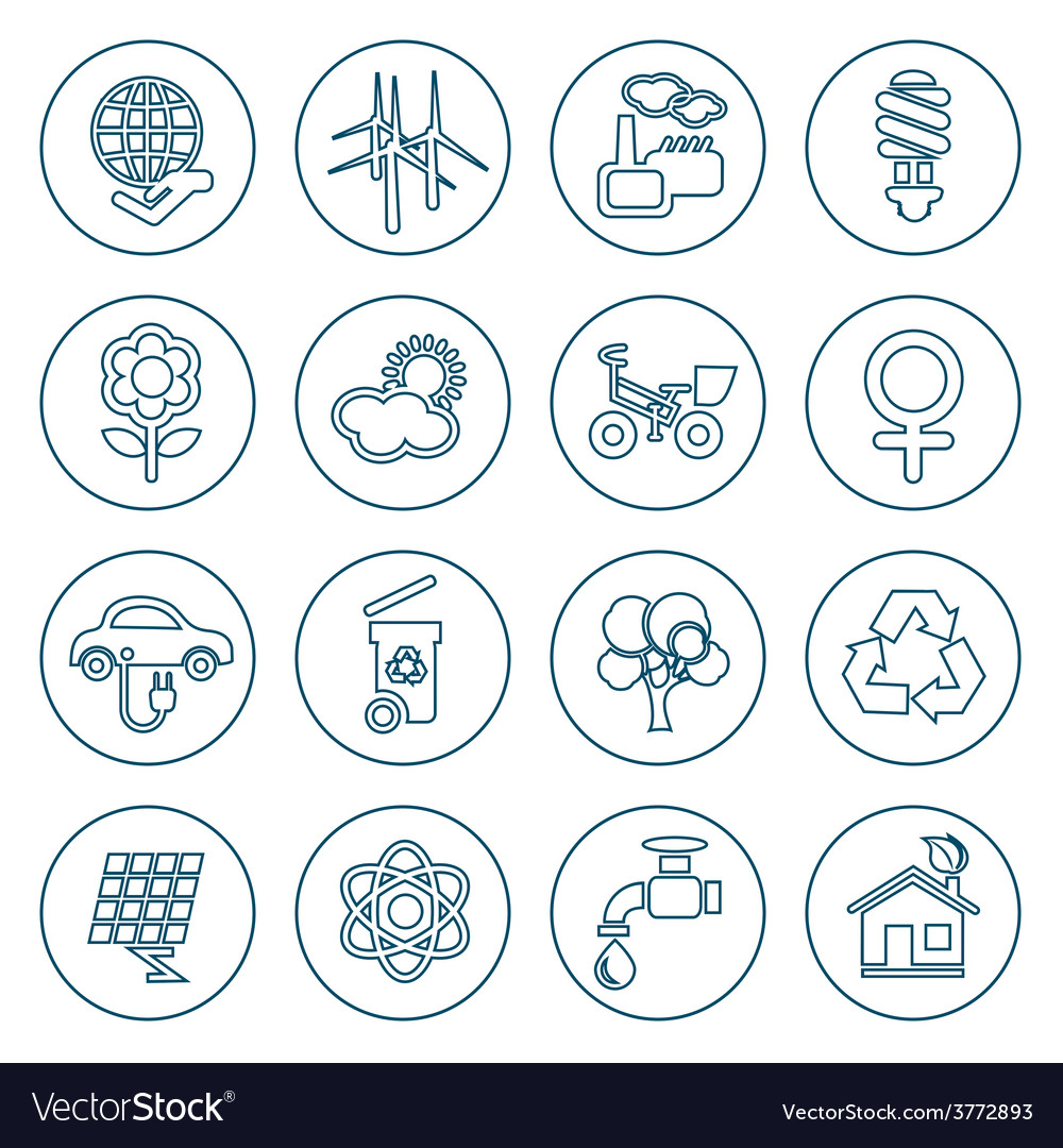 Thin line ecology icons set vector | Price: 1 Credit (USD $1)