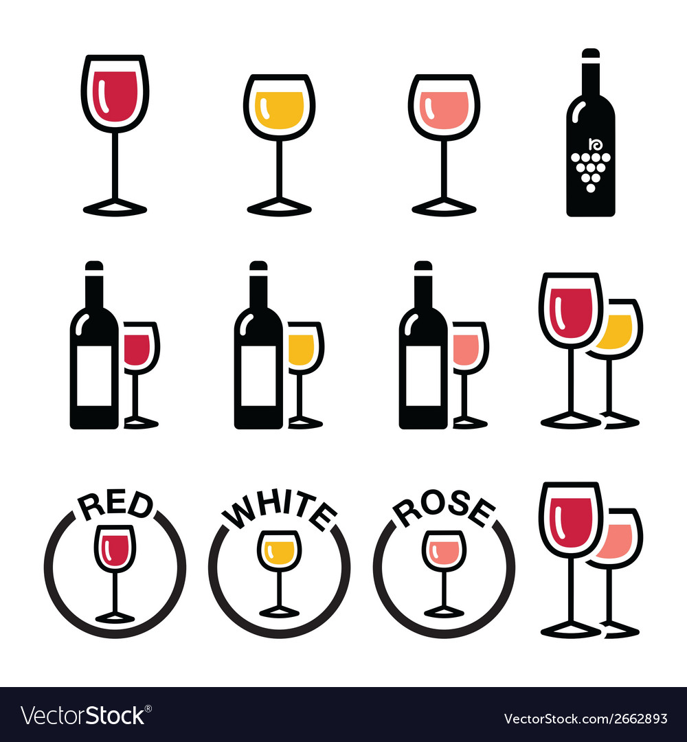 Wine types - red white rose icons set vector | Price: 1 Credit (USD $1)