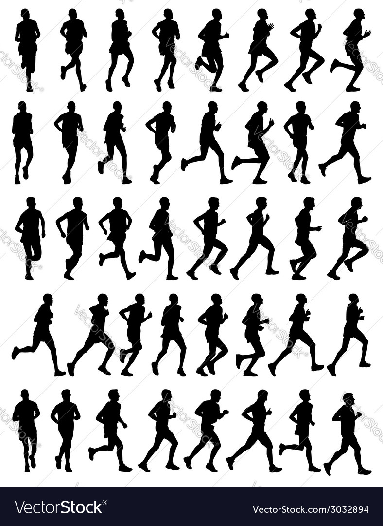 40 marathon runners vector | Price: 1 Credit (USD $1)