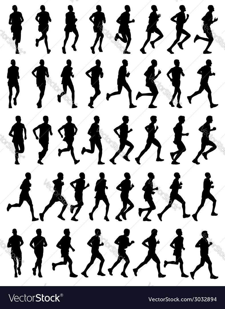 40 marathon runners vector | Price: 1 Credit (USD $1)