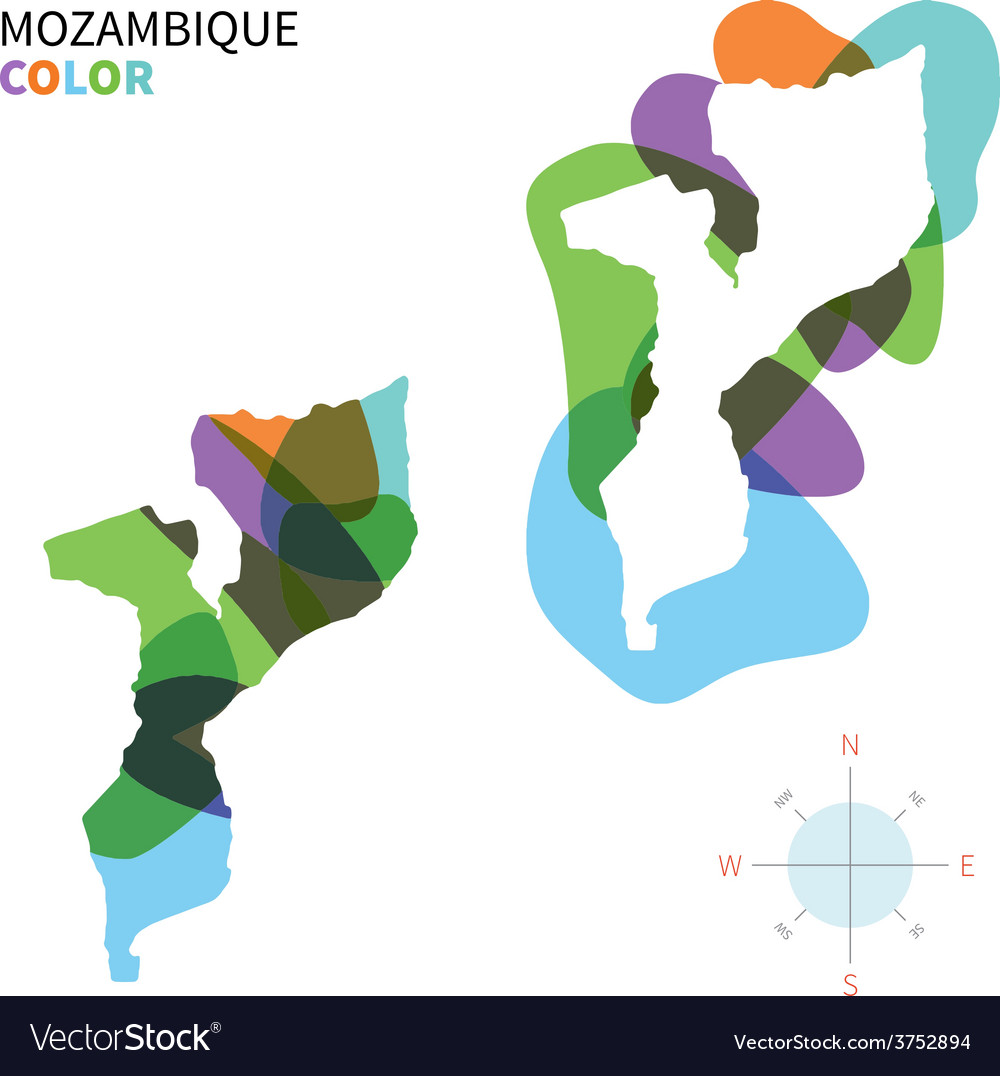 Abstract color map of mozambique vector | Price: 1 Credit (USD $1)
