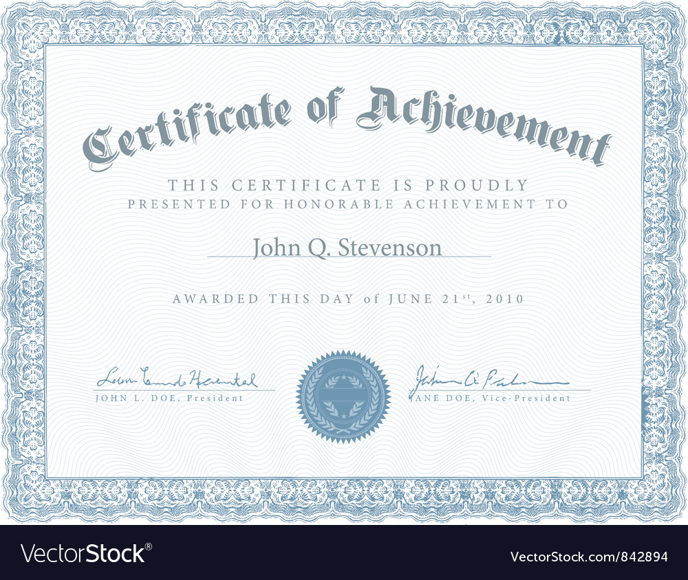 Achievement certificate vector | Price: 1 Credit (USD $1)