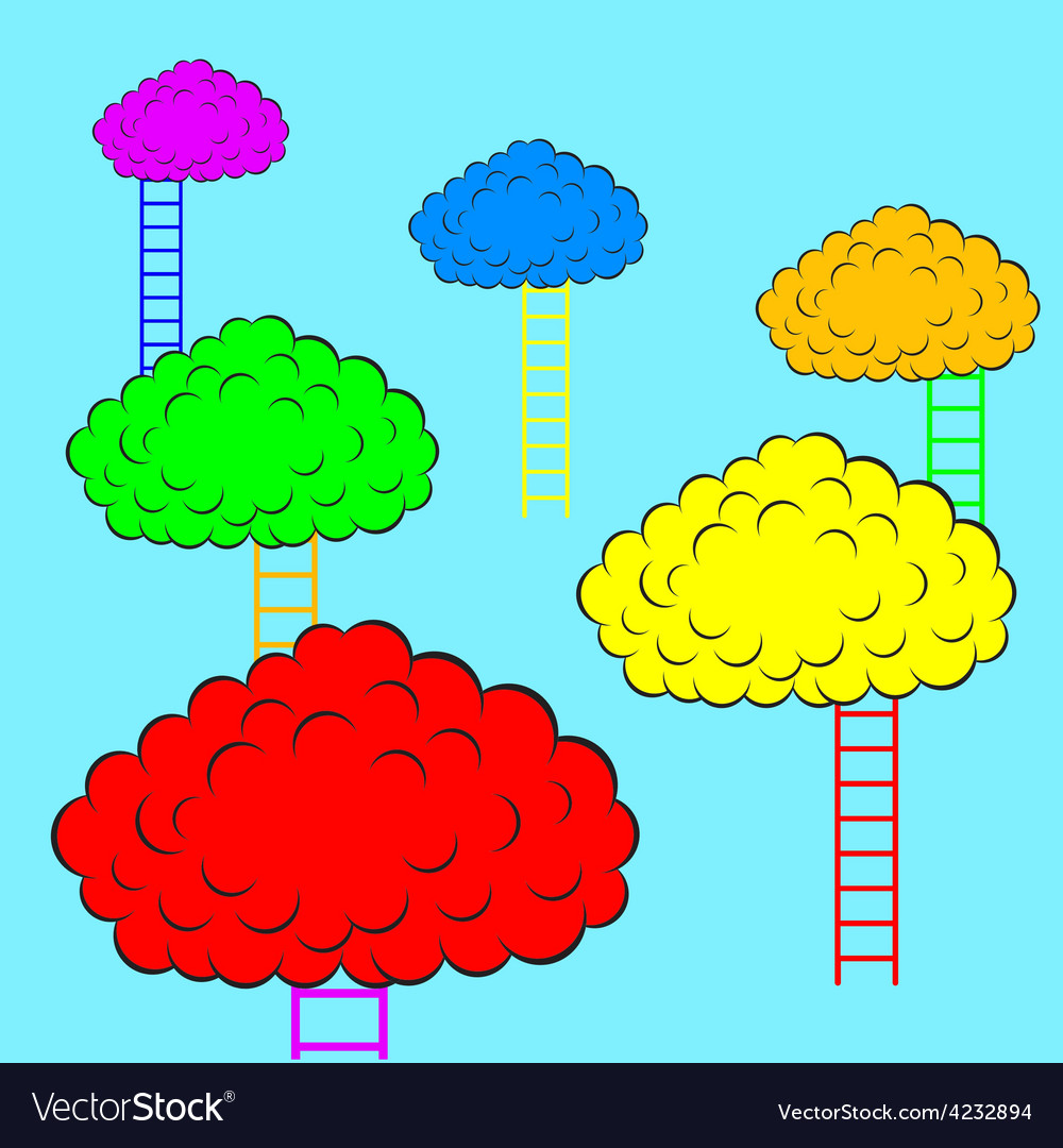 Color clouds with stairs vector | Price: 1 Credit (USD $1)