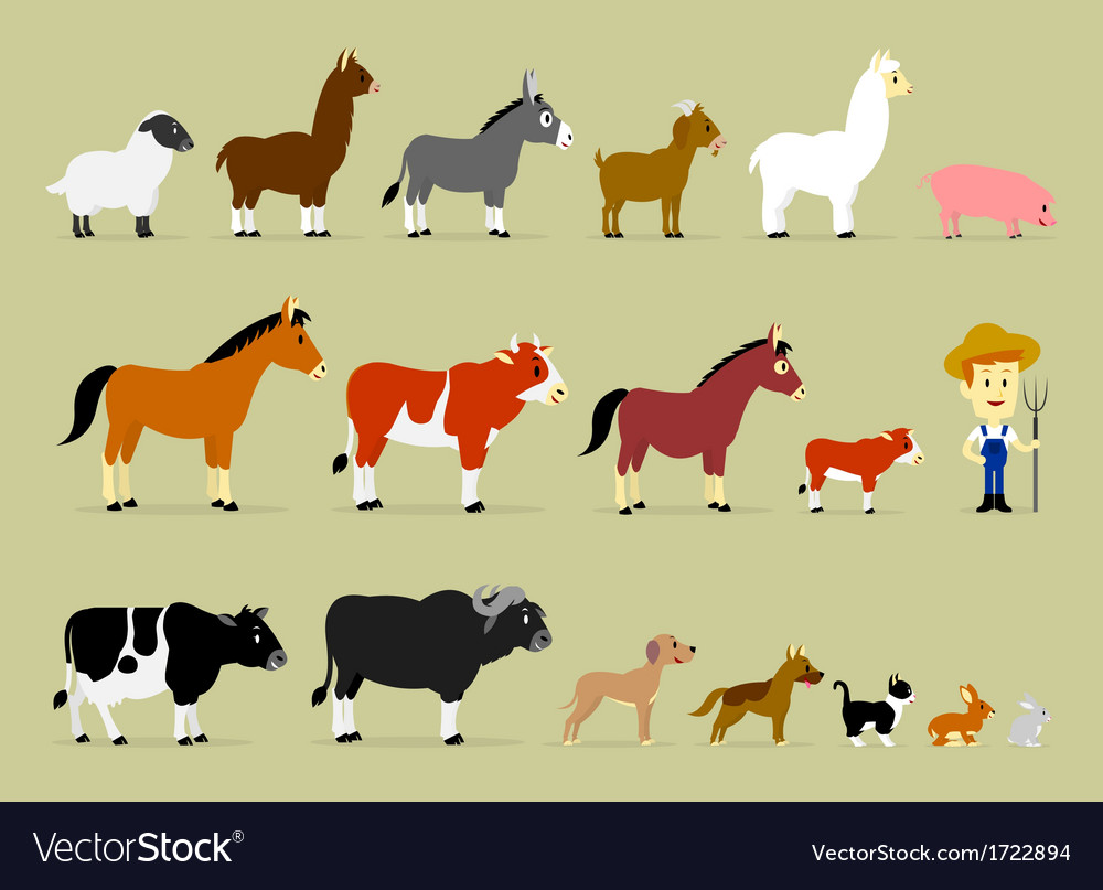 Cute cartoon farm characters vector | Price: 1 Credit (USD $1)