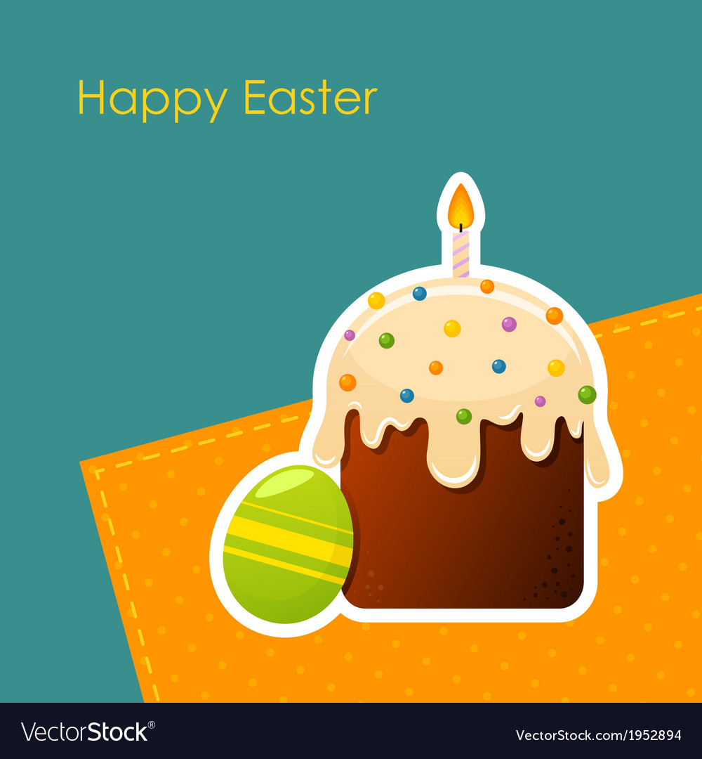 Easter egg and cake with candle vector | Price: 1 Credit (USD $1)