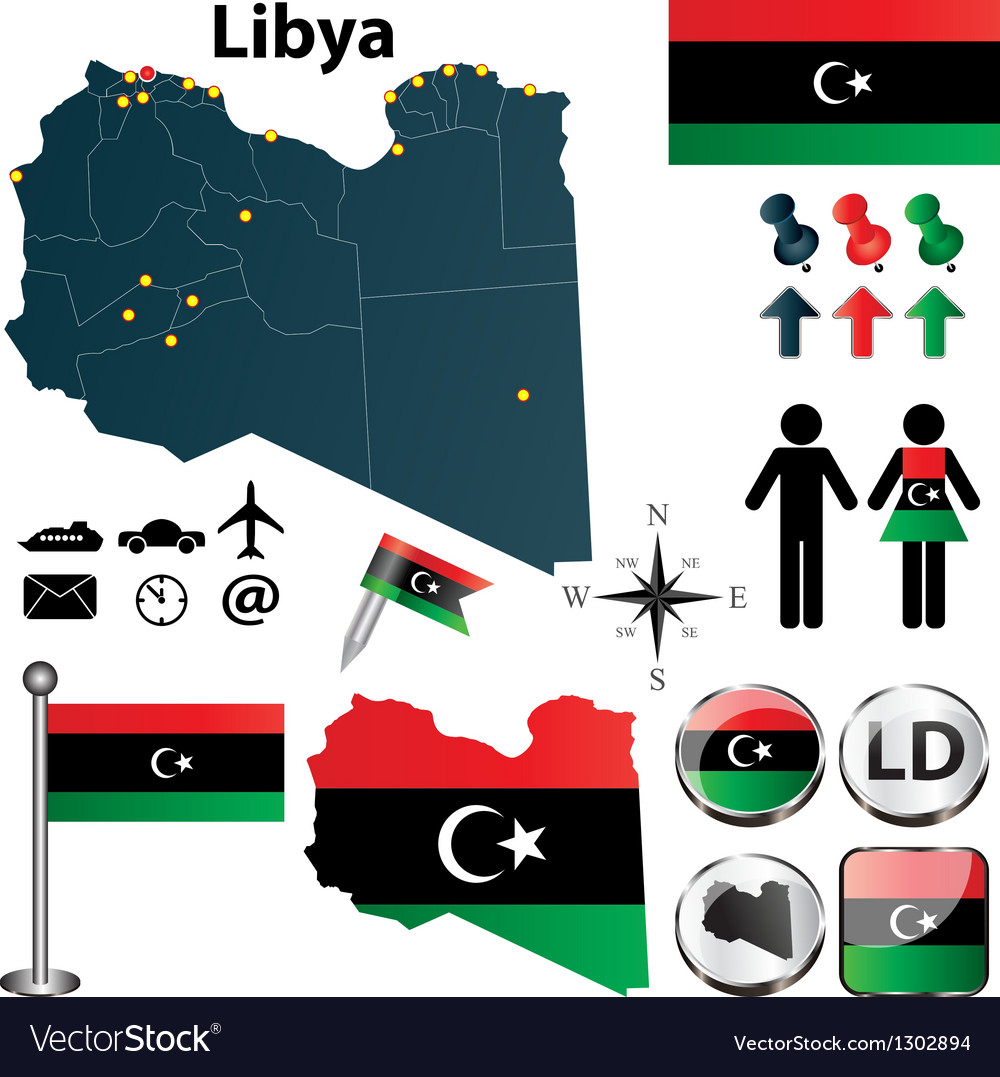 Map of libya vector | Price: 1 Credit (USD $1)