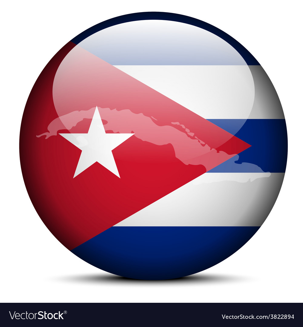 Map on flag button of republic of cuba vector | Price: 1 Credit (USD $1)