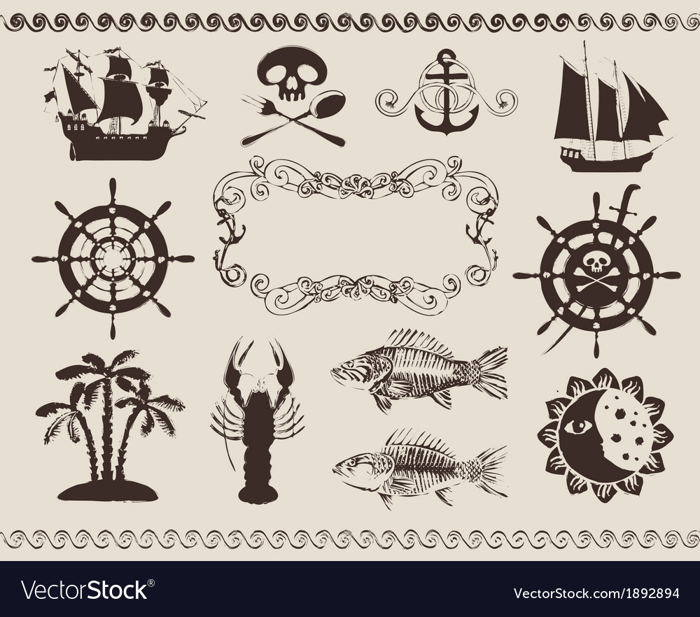 Marine theme vector