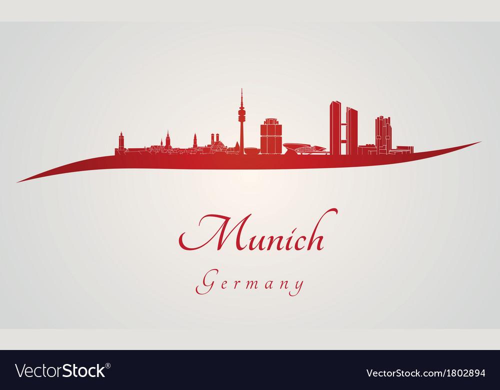 Munich skyline in red vector   Price: 1 Credit (USD $1)