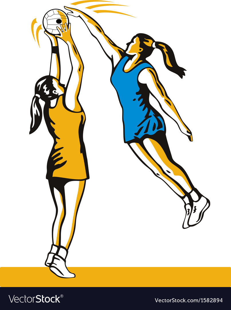 Netball player shooting blocked vector | Price: 1 Credit (USD $1)