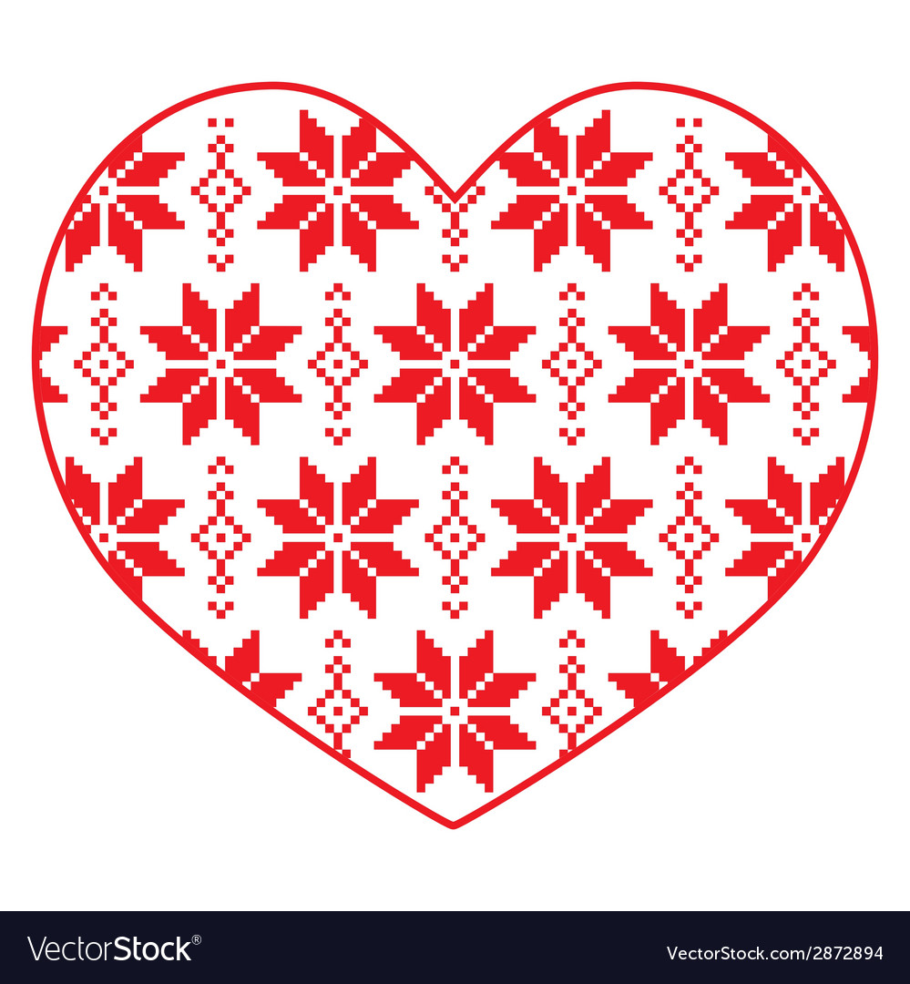 Nordic winter red and white heart pattern vector | Price: 1 Credit (USD $1)