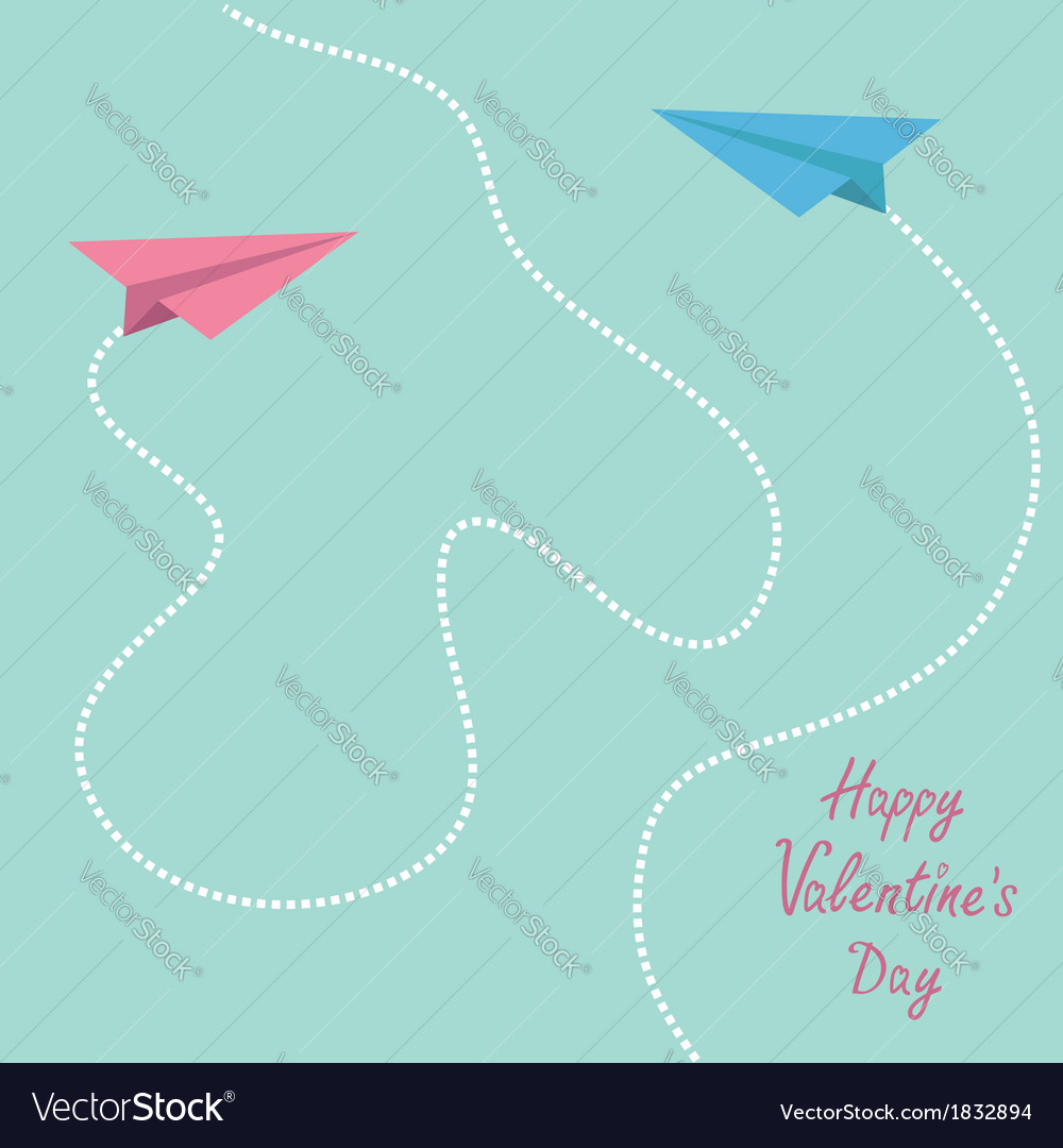 Pink and blue origami paper planes valentines day vector | Price: 1 Credit (USD $1)