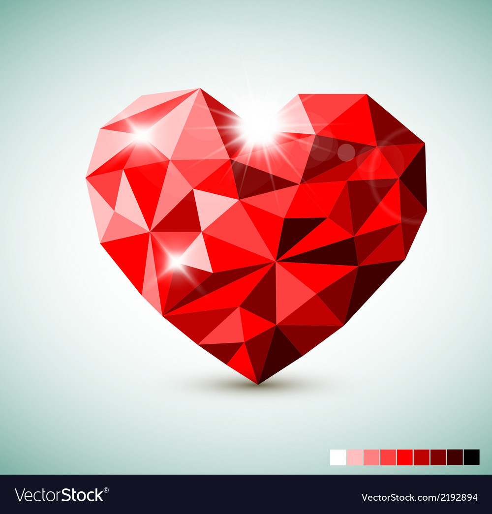 Red diamond jewel heart vector | Price: 1 Credit (USD $1)