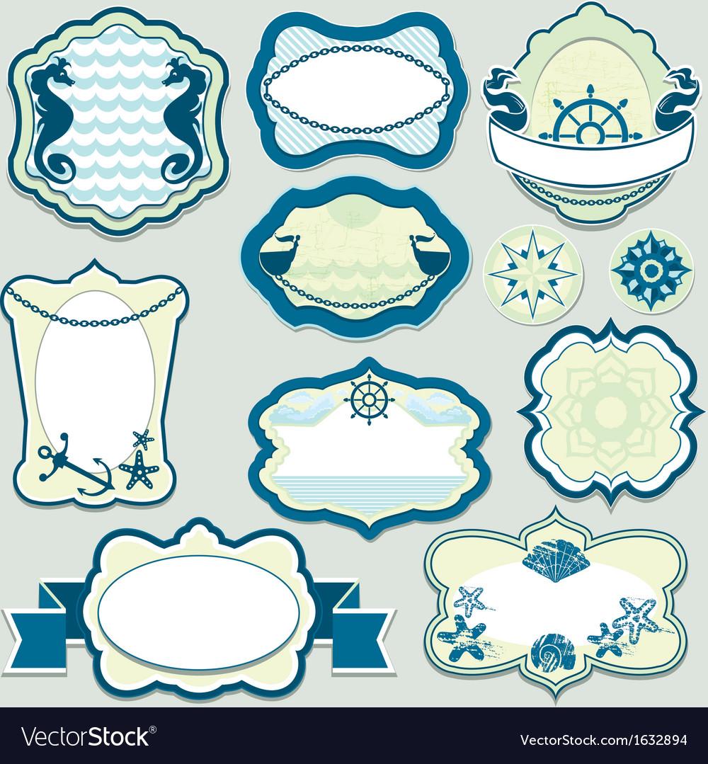 Set of design elements - marine themes frames vector | Price: 1 Credit (USD $1)