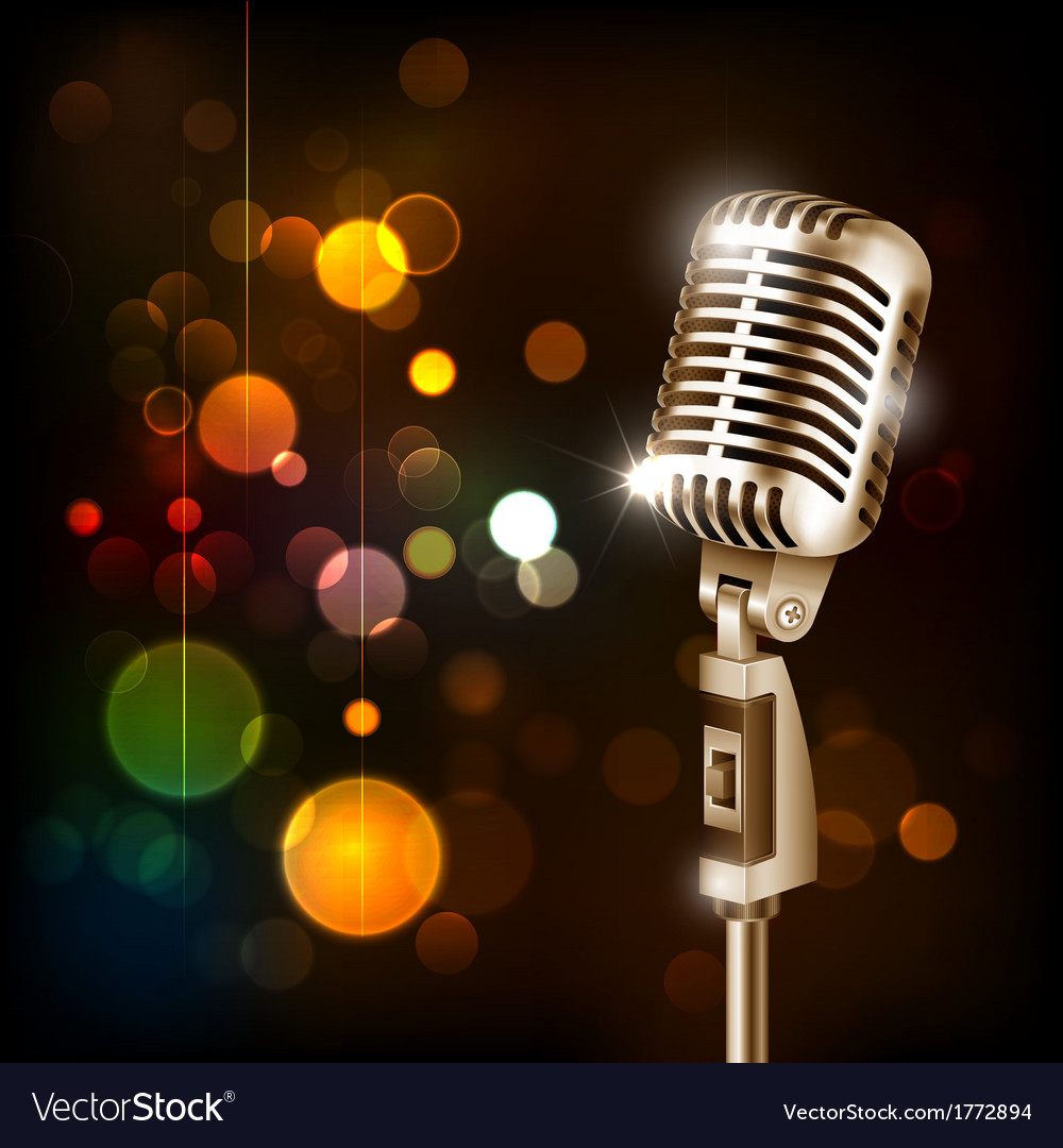 Vintage microphone on abstract background vector | Price: 1 Credit (USD $1)