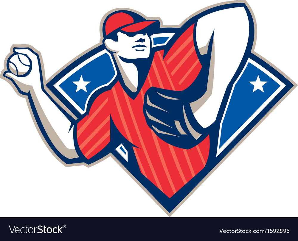 Baseball pitcher throwing ball retro vector | Price: 1 Credit (USD $1)