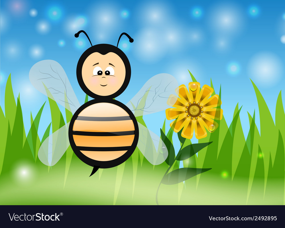 Bee in the summer vector | Price: 1 Credit (USD $1)