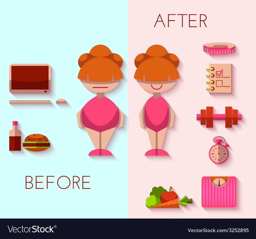 Diet result in flat style vector | Price: 1 Credit (USD $1)
