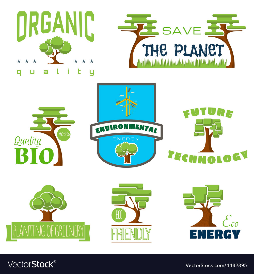 Ecology 100 percent natural stickers logos vector | Price: 1 Credit (USD $1)