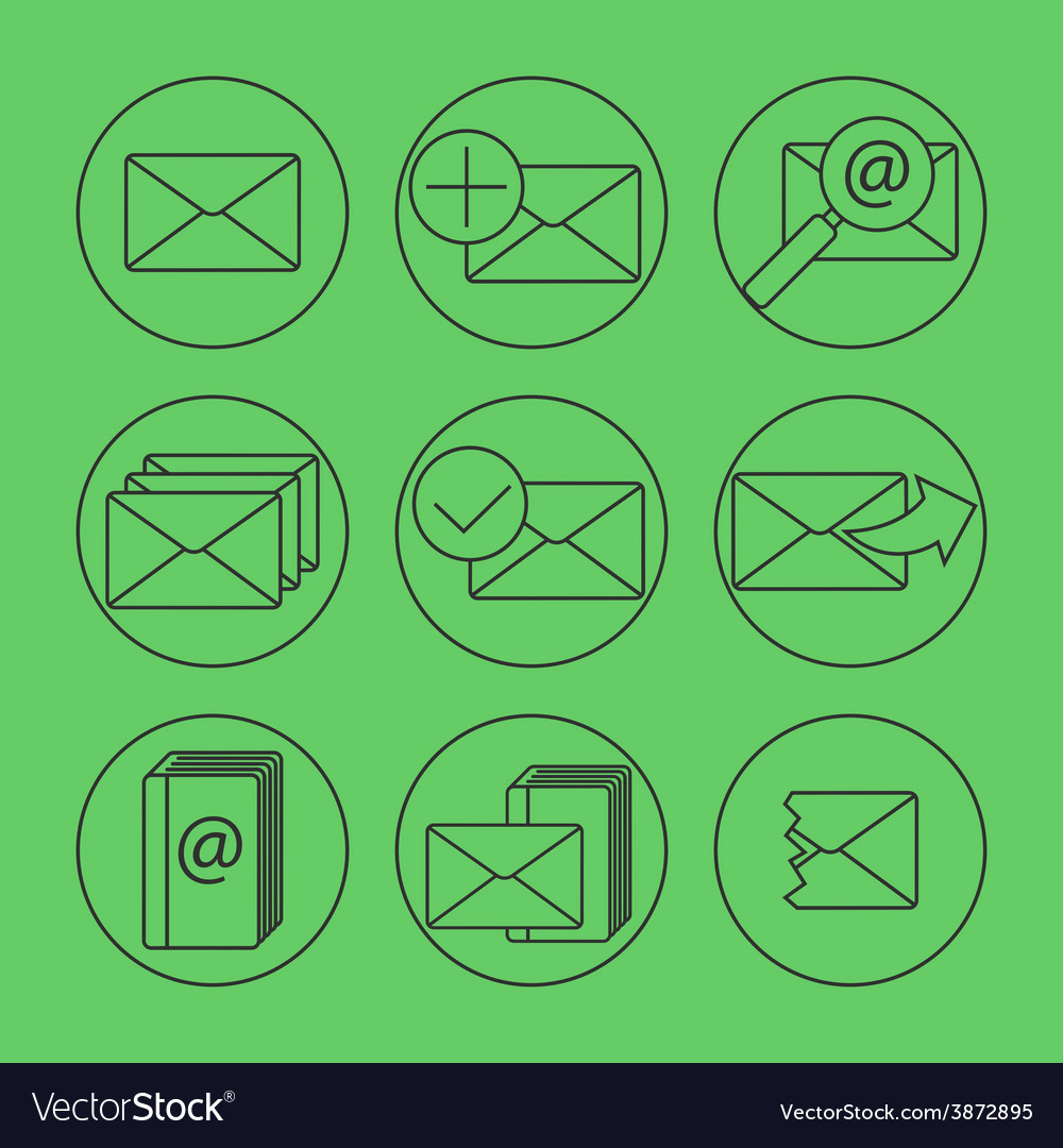 E-mail thing line icons set vector | Price: 1 Credit (USD $1)
