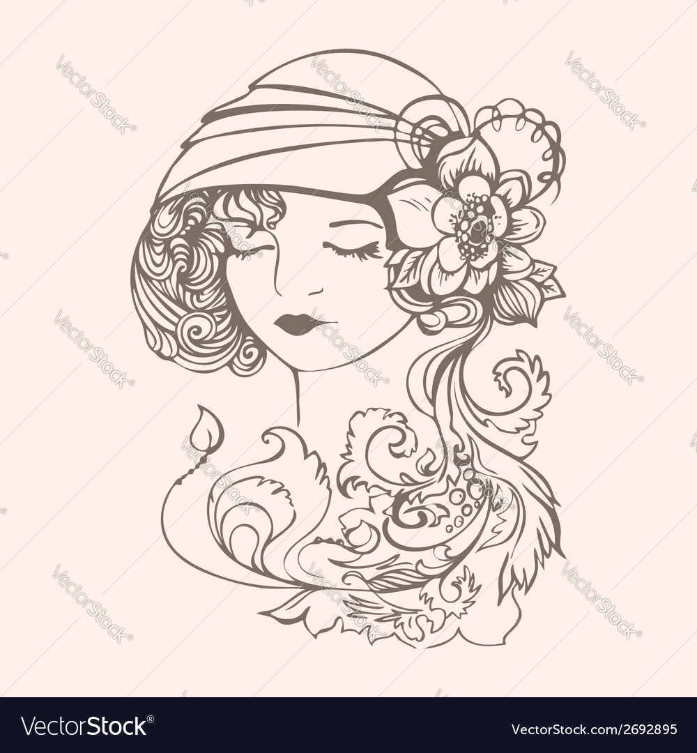 Flapper girl vector | Price: 1 Credit (USD $1)