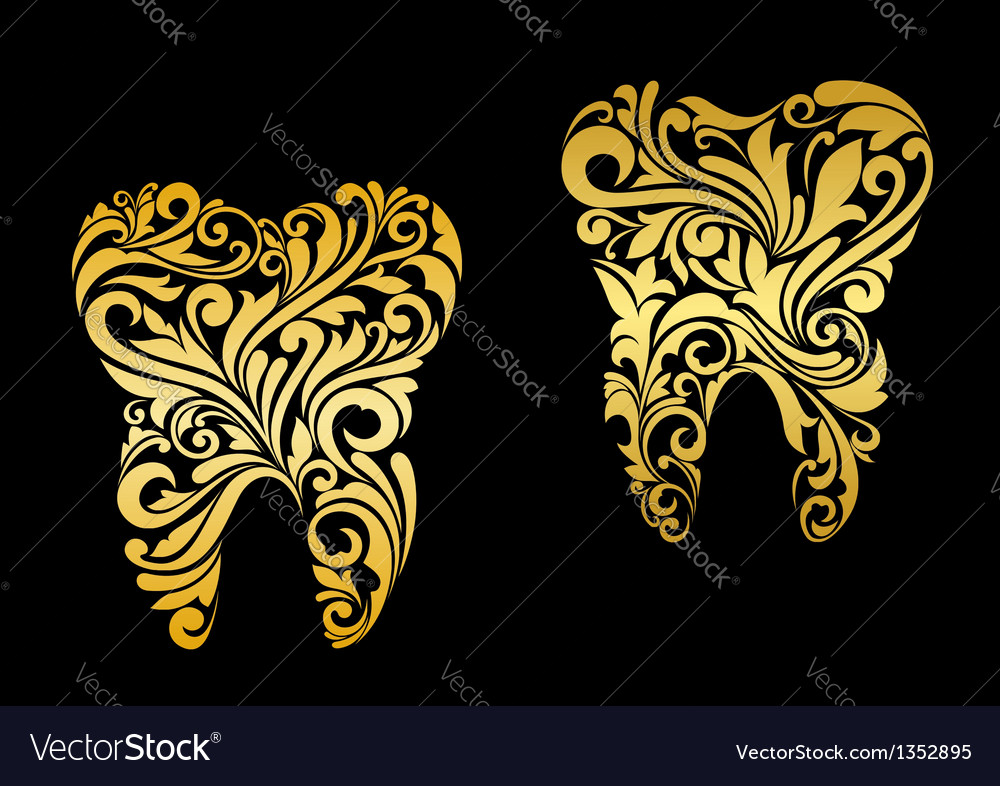 Golden tooth in floral style vector | Price: 1 Credit (USD $1)