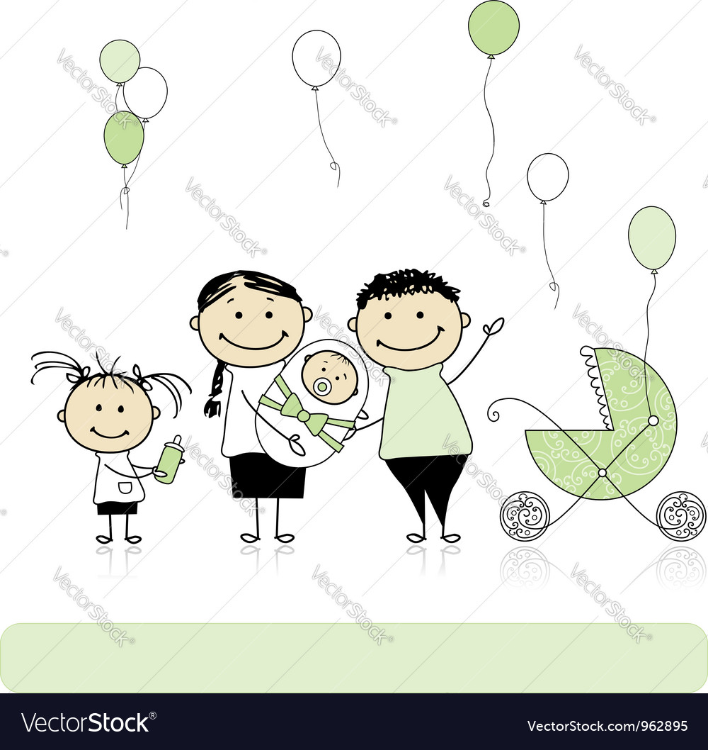 Happy birthday parents with children newborn baby vector | Price: 1 Credit (USD $1)