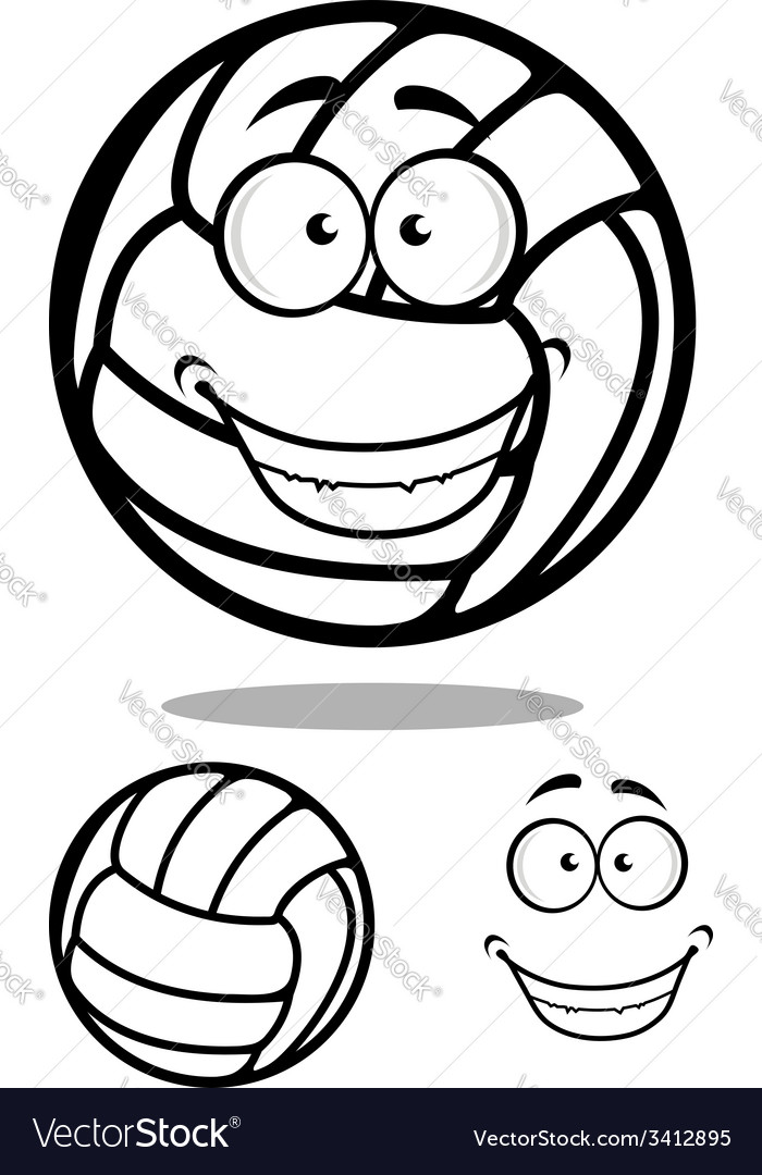 Happy cartoon volleyball ball character vector | Price: 1 Credit (USD $1)