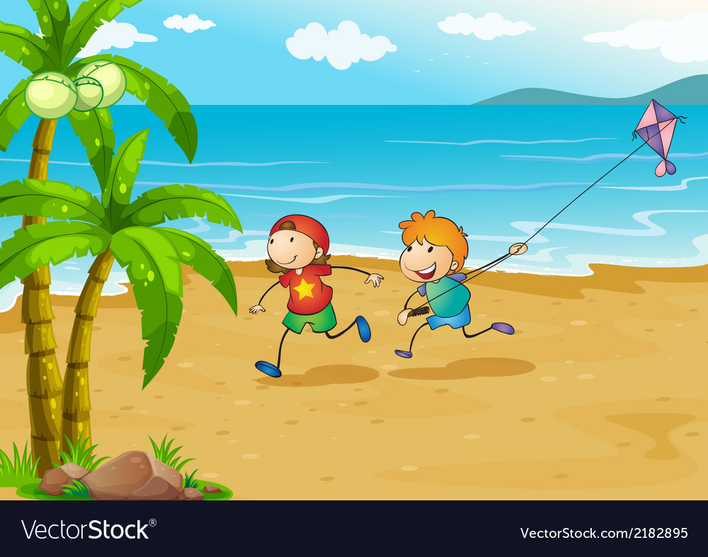 Kids playing at the beach with their kite vector | Price: 1 Credit (USD $1)