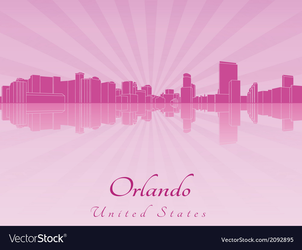 Orlando skyline in purple radiant orchid vector | Price: 1 Credit (USD $1)