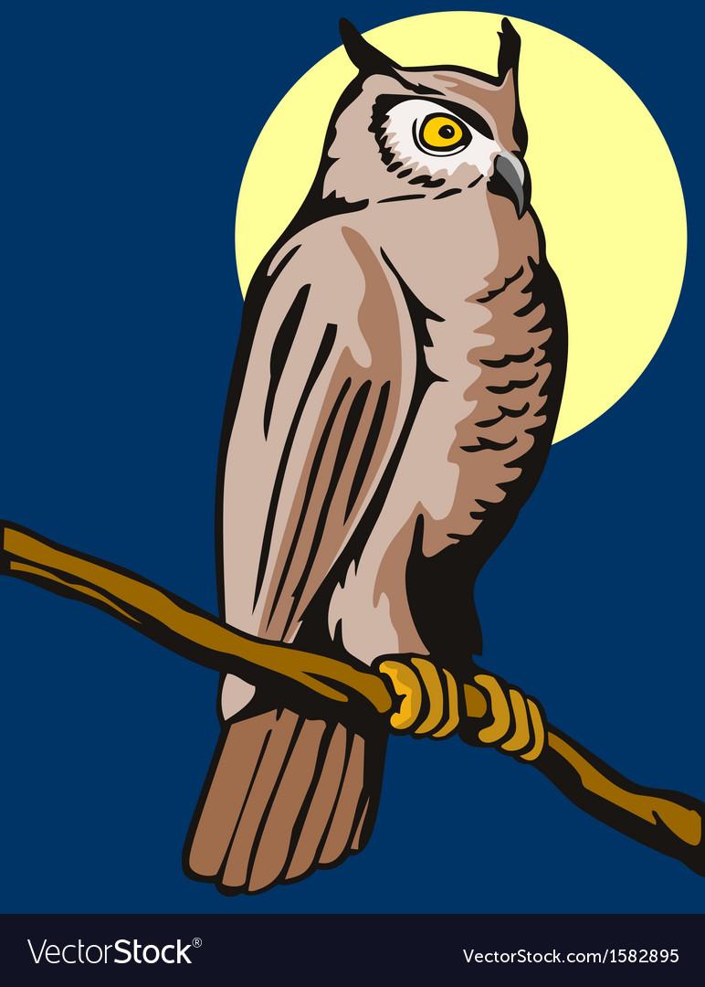Owl on branch retro vector | Price: 1 Credit (USD $1)