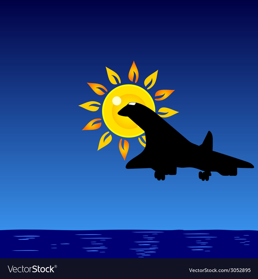 Plane and sun and sea vector | Price: 1 Credit (USD $1)