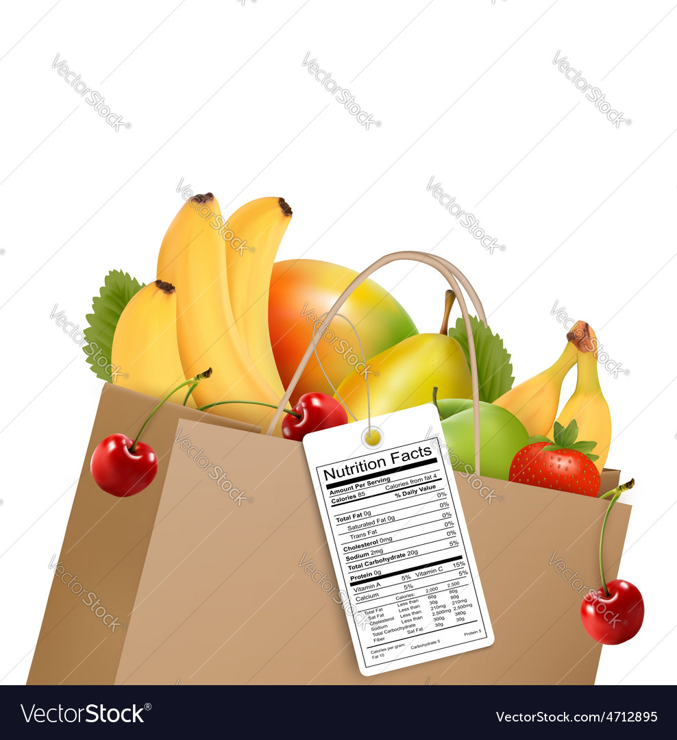 Shopping bag with healthy fruit and a nutrient vector | Price: 1 Credit (USD $1)