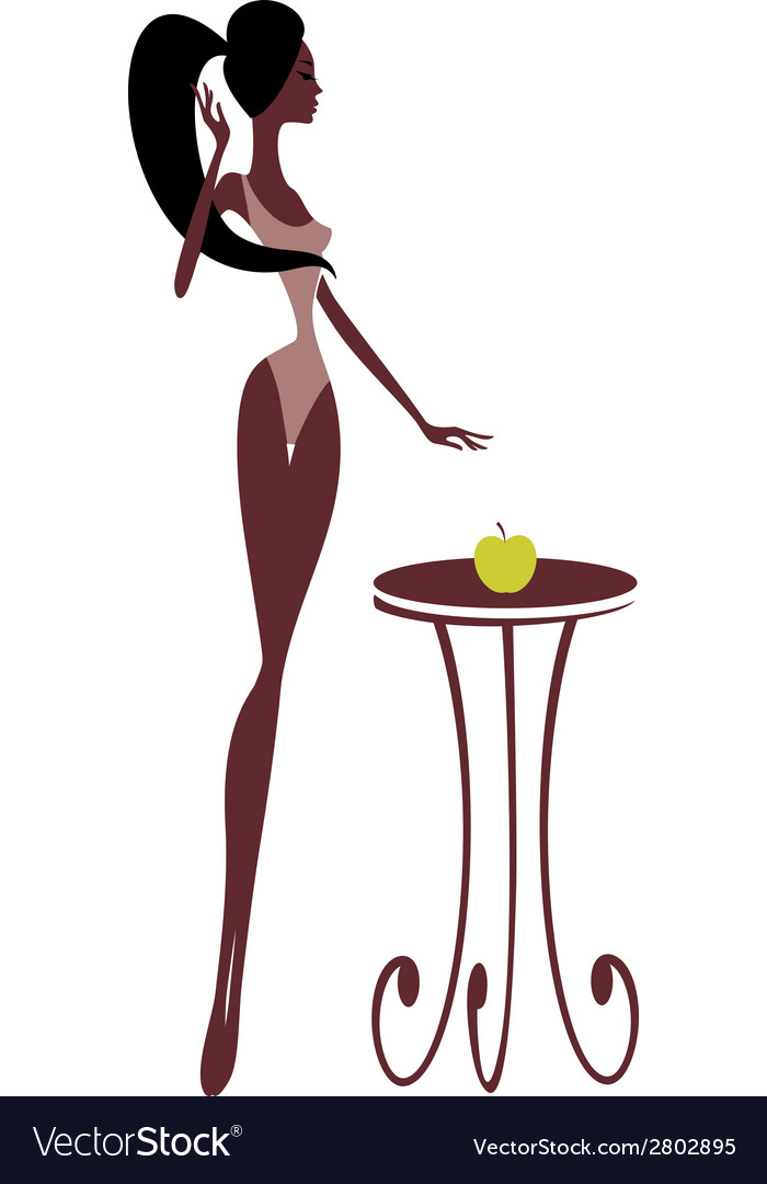 Silhouette of a beautiful girl with an apple vector | Price: 1 Credit (USD $1)