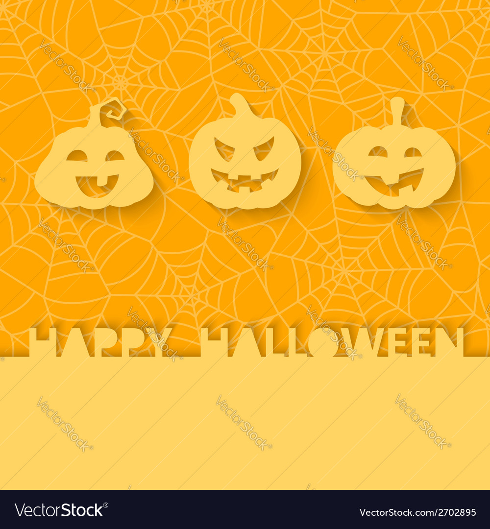 Three orange pumpkins on the background of the web vector | Price: 1 Credit (USD $1)