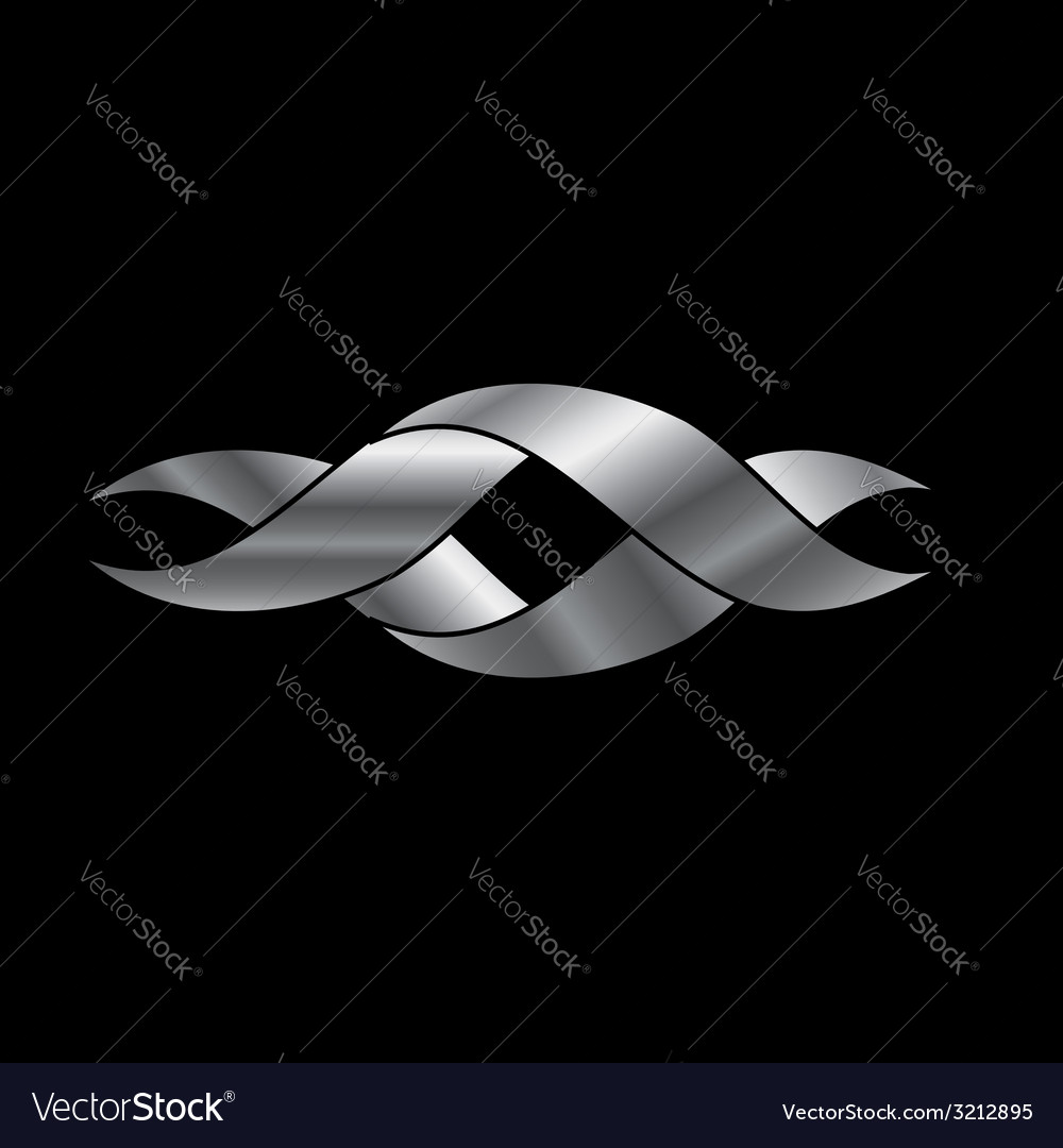 Twisted ribbon- abstract logo in silver color vector | Price: 1 Credit (USD $1)