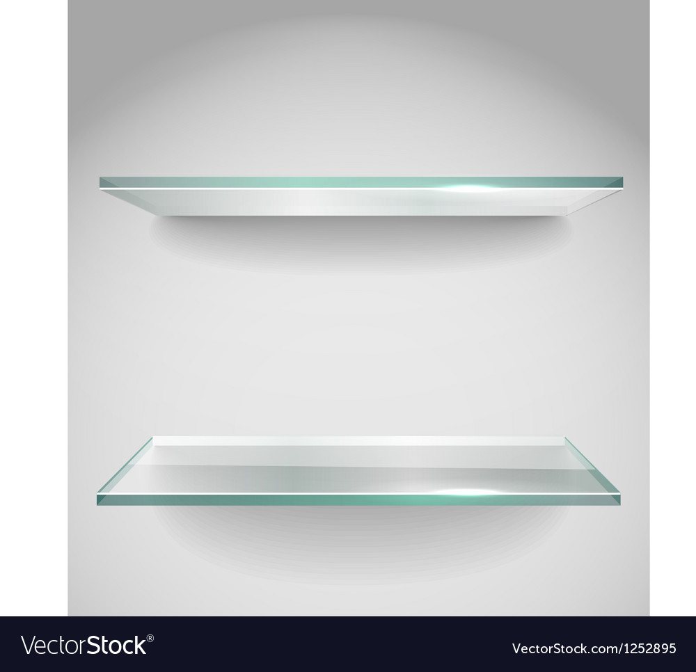 Two empty advertising glass shelves with spot lign vector | Price: 1 Credit (USD $1)