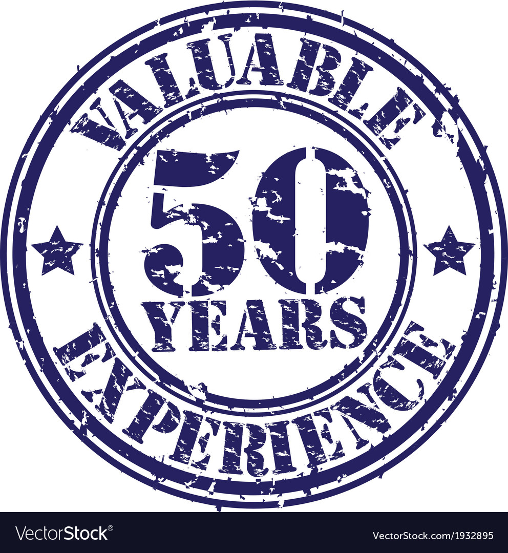 Valuable 50 years of experience rubber stamp vect vector | Price: 1 Credit (USD $1)