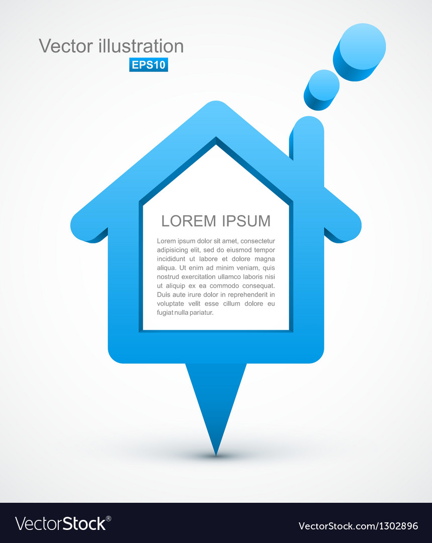 Blue house pointer vector | Price: 1 Credit (USD $1)