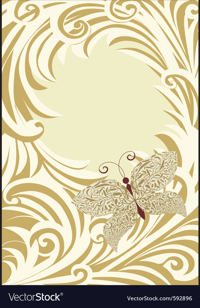Butterfly frame card vector | Price: 1 Credit (USD $1)
