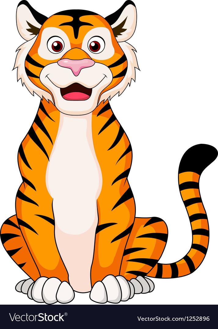 Cute tiger cartoon sitting vector   Price: 1 Credit (USD $1)